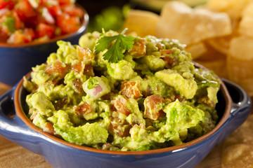 Homemade Organic Guacamole and Tortilla Chips