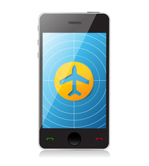 Airplane flying. Flight app illustration design
