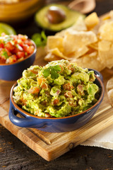 Homemade Organic Guacamole and Tortilla Chips