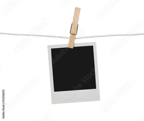Blank photograph hanging on the clothesline
