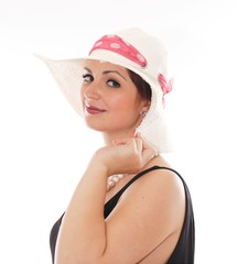 beautiful young woman with hat isolated on White Background