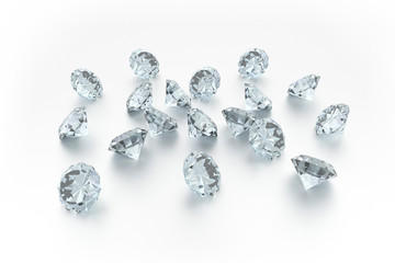 3D Diamonds - 18 Gems - White Background