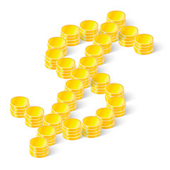 dollar sign made ??of coins