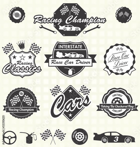 Vector Set: Retro Race Car Driver Labels and Icons - 53310620