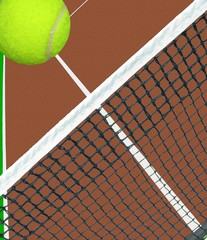 tennis ball flying over clay court tennis net