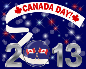 Canada Day. Silver 3-D 2013 with glass ball.