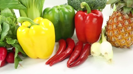 A group of vegetables over white background