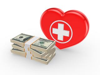 Dollars and symbol of medicine.