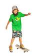 Happy teen on skateboard in action