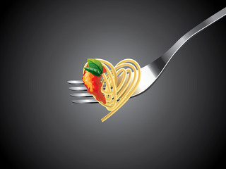 spaghetti on fork with tomato sauce photo-realistic vector