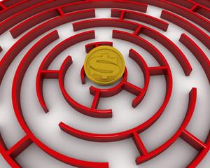 Лабиринт. Монета американского доллара