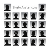 Set of silhouettes of avatar