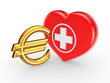 Euro sign and symbol of medicine.