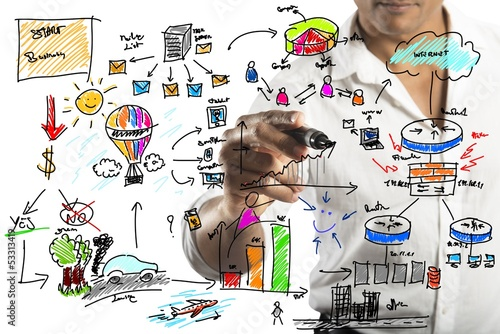 Businessman drawing a new project
