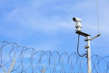 CCTV on top of chain link