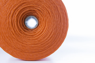 Roll of red polyester rope - close up