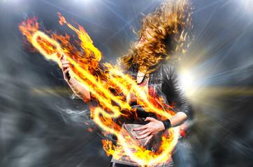 playing rock music