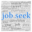 Job seek concept in word tag cloud