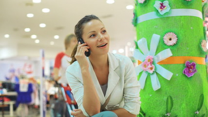 beautiful girl, woman talking on the phone and laughing