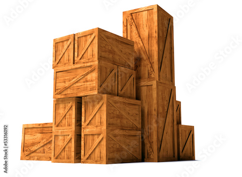 wooden cargo export import boxes
