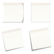 4 White, Light Grey Stick Notes on White Background
