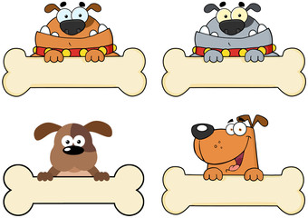 Cartoon Dogs Over A Bone Banner.Collection