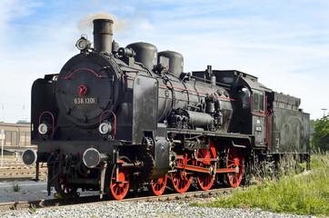 Alte Dampflokomotive in Augsburg