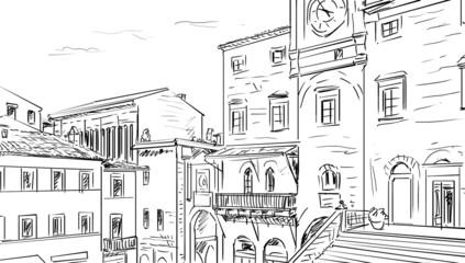 Street in Tuscany -sketch  illustration