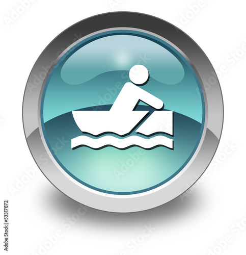"Light Blue Glossy Pictogram ""Rowboating"""