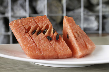 Close up of fresh slices of red watermelon