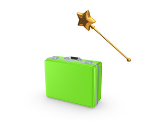 Green case and magic wand.