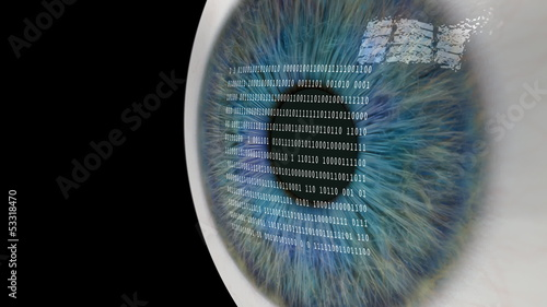 Eye Looking at Binary Code.