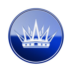 Crown icon glossy blue, isolated on white background