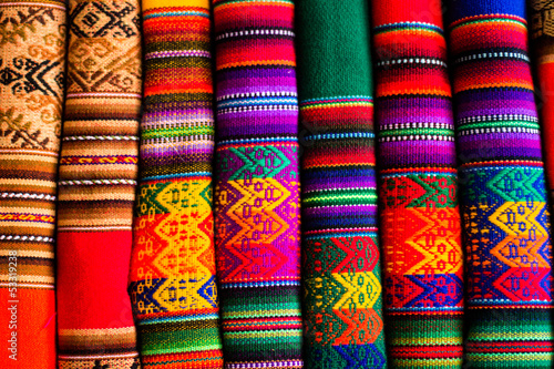 canvas print picture Colorful Fabric at market in Peru, South America