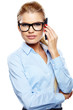 Portrait of smiling business woman phone talking, isolated on wh