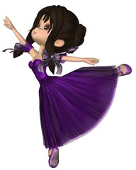 Toon Ballerina in Purple Romantic Style Tutu
