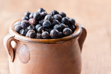 Pile of juniper berries on ceramic bowl