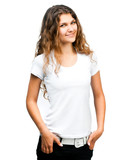 girl in white t-shirt