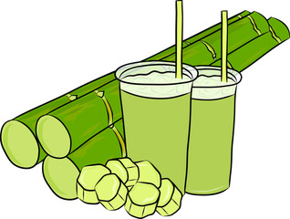 hand drawn sugar cane juice