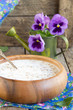 buckwheat in a wooden plate.