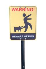 Beware of the mad dog - warning sign.