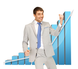 successful businessman with 3d chart