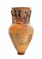 Amphora shows the blinding of Polyphemos by Odysseus