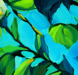 leaves against blue sky, painting by oil on canvas, illustration