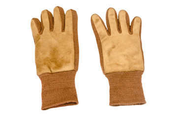 front view of work gloves on pure white background