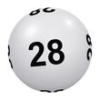 Loto, boule blanche numéro 28