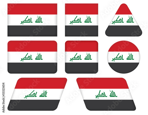 set of buttons with flag of Iraq