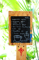 Handwritten coffee menu