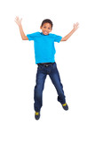 young african american boy jumping