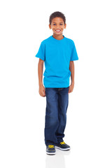 young indian boy standing on white background